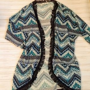 Sweaters - Cato shrug fringed blue / teal chevron pattern, l